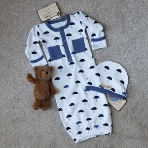 NWT L'ovedbaby Organic Gown w/Matching Cap